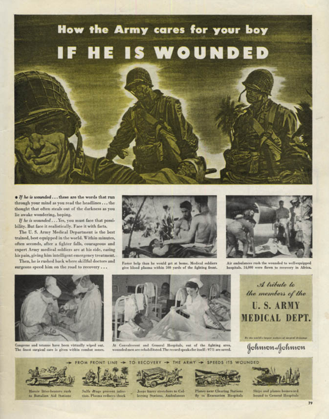 Image for How the Army cares for your wounded boy US Amry Medical Dept ad 1943 Col