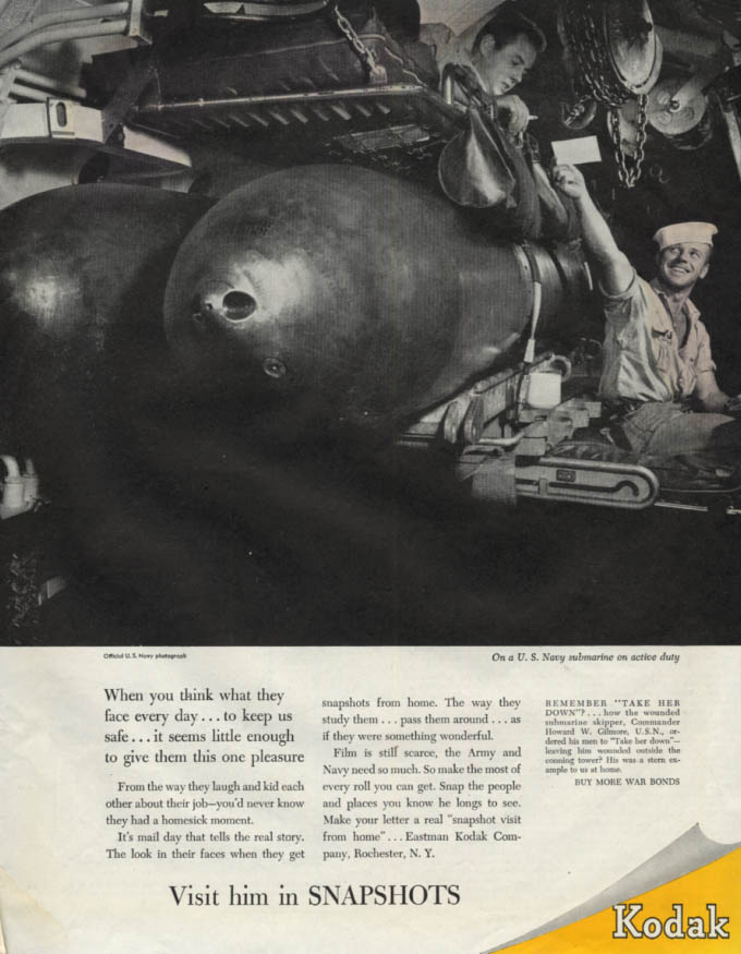 Image for What they face every day US Navy submariners & torpedo Kodak Snapshots ad 1944 C
