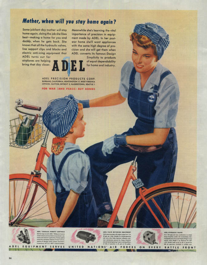 Image for Mother when will you stay home again Adel ad 1944 woman warworker in overalls