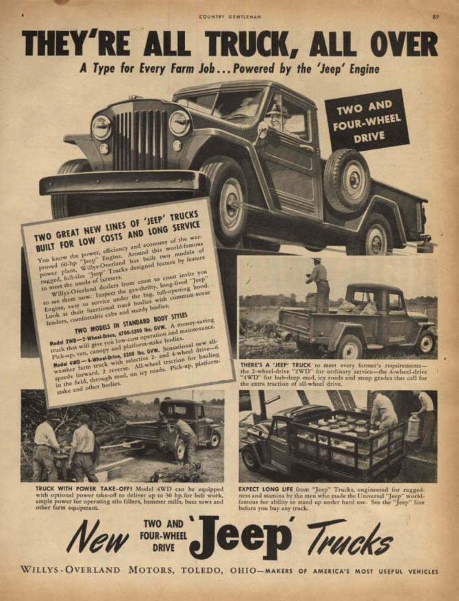 Image for They're all Truck, All Over - Jeep Trucks for the Farm ad 1947 CG
