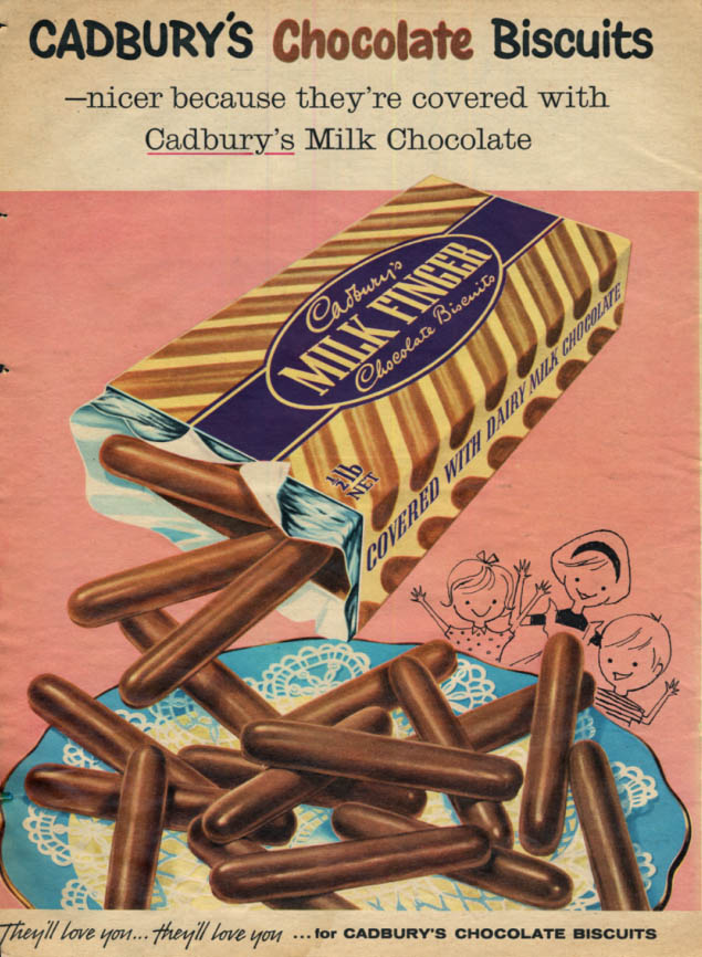 Image for Nicer because they're Cadbury's Chocolate Bisciuits ad 1959