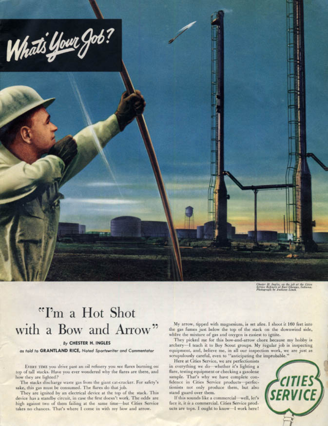Image for Cities Service archer Chester Ingles lights cat-cracker E Chicago IN ad 1953 Col