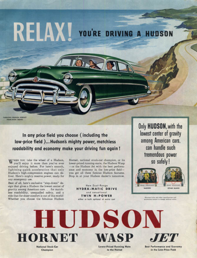 Image for Relax! Youre driving a Hudson Hornet 4-door sedan ad 1953 Col