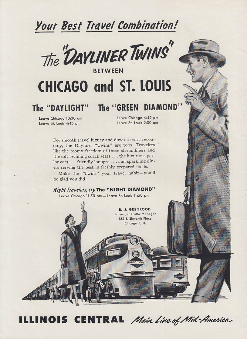 Daylight & Green Diamond Dayliner Twins Illinois Central RR ad 1956 Trns
