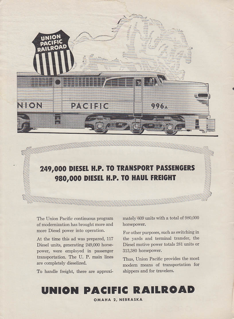 249,000 Diesel HP for Passengers 980,000 for Freight Santa Fe RR ad 1955