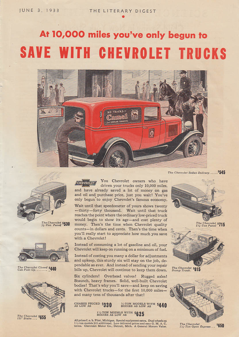 At 10,000 miles you've only begun to save Chevrolet Sedan Delivery ad 1933 LD