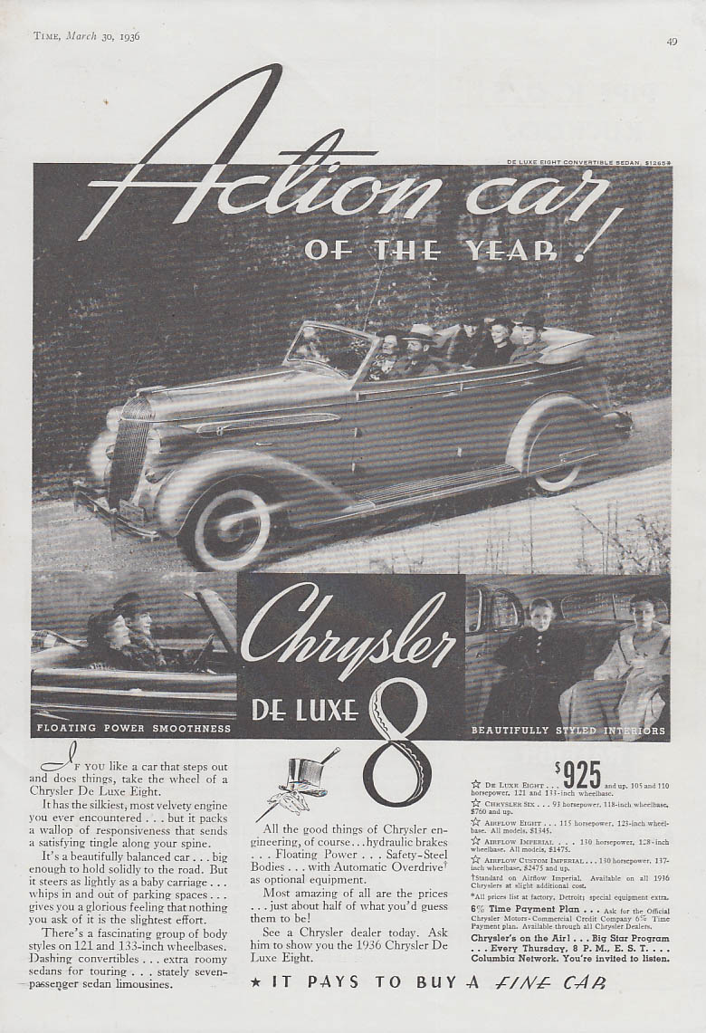 Image for Action car on the Year! Chrysler De Luxe 8 Convertible Sedan ad 1936 T