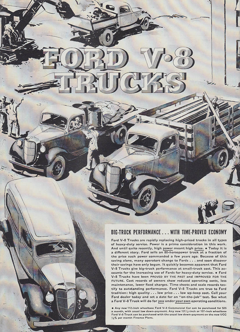 Big-Truck Performance with Time-Proved Economy Ford Panel Dump Stake ad 1936 T