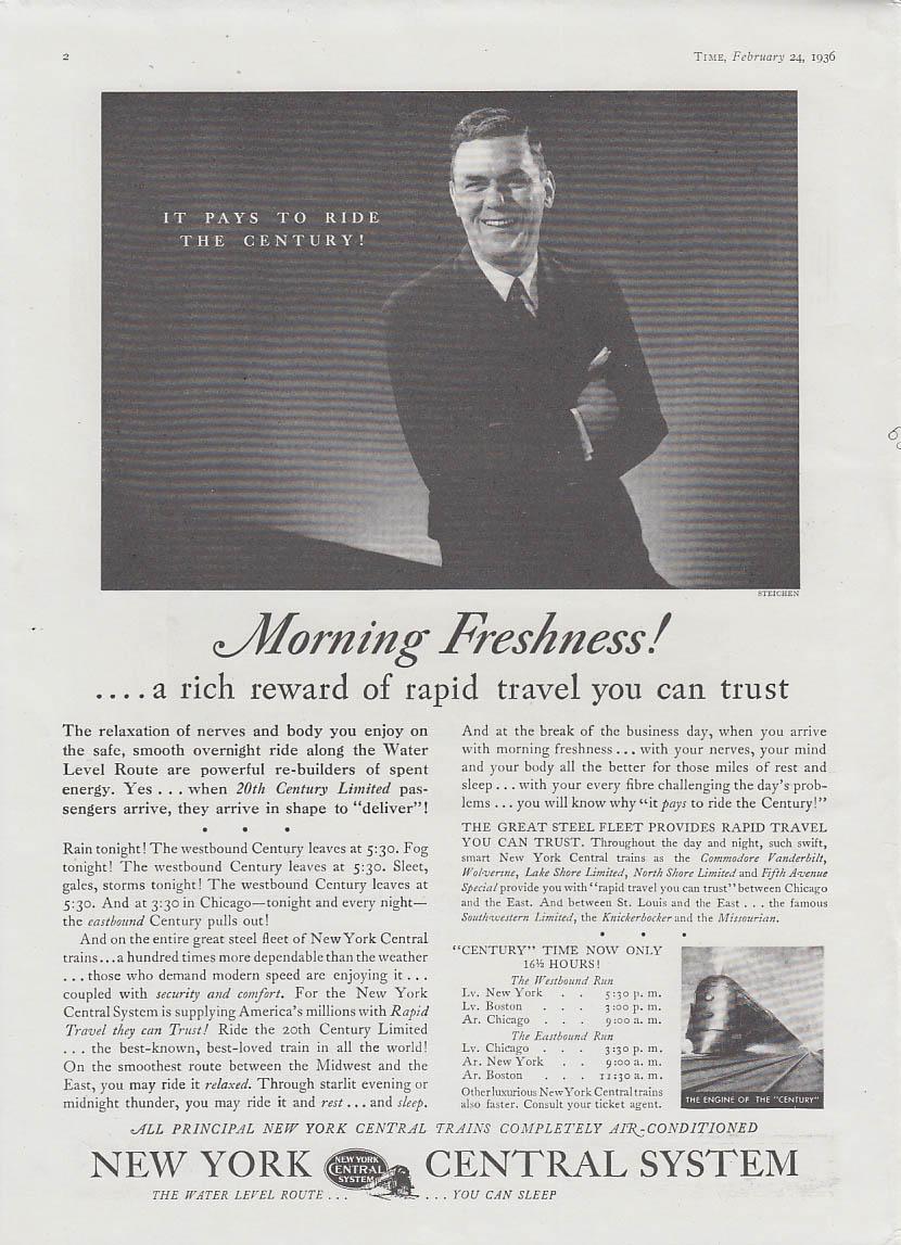 Morning Freshness! Reward of rapid travel New York Central RR ad 1936 Steichen T