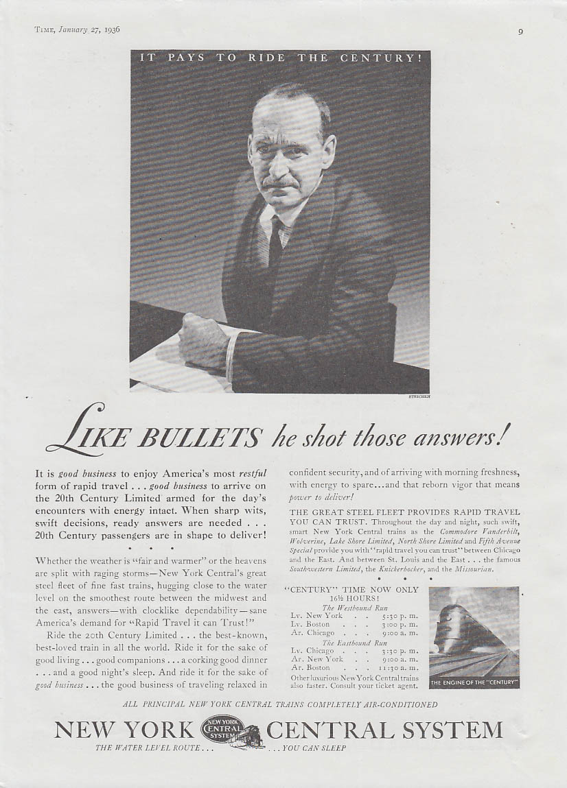 Like bullets he shot those answers! New York Cenral RR ad 1936 Steichen T