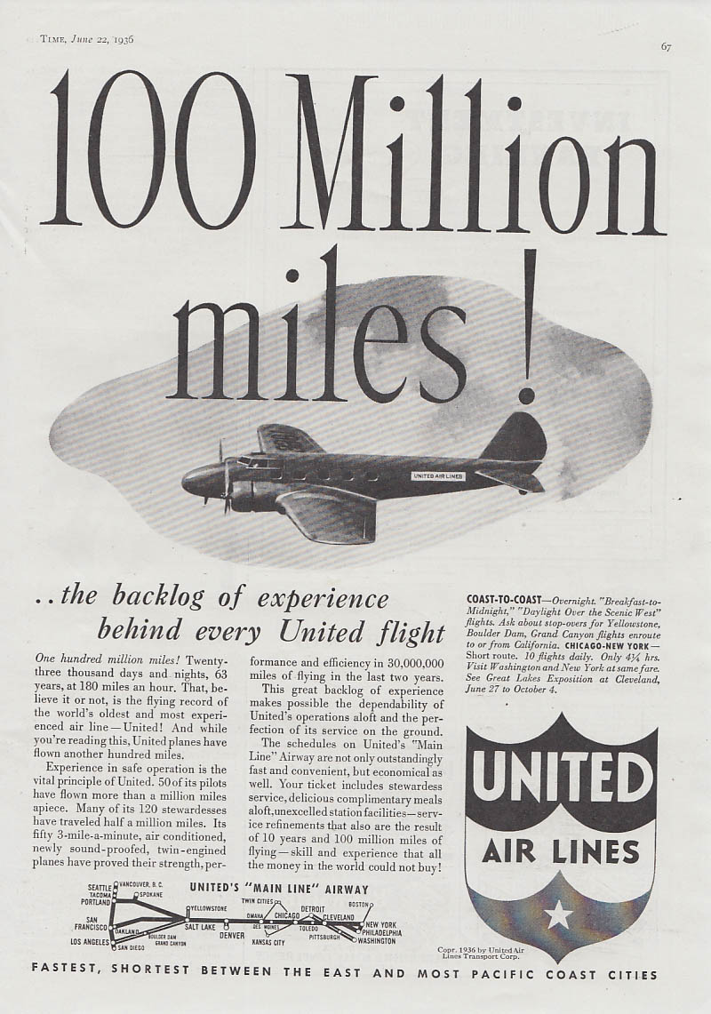 100 Million Miles! United Air Lines Boeing 247 ad 1936 T