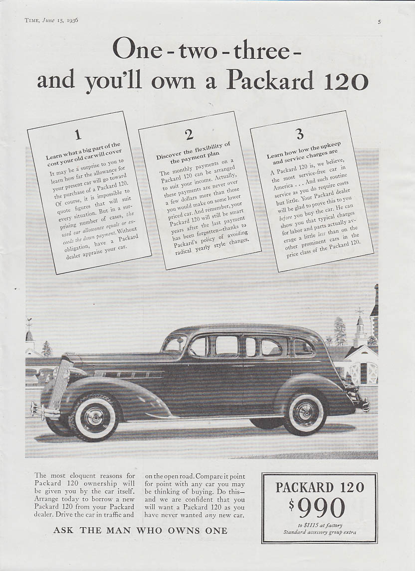 Image for One-two-three & you'll own a Packard 120 ad 1936 T