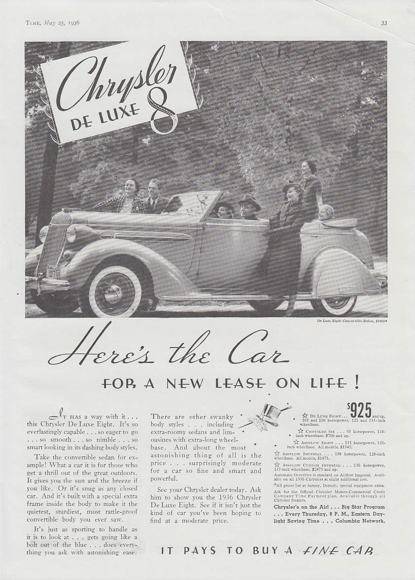 Image for The Car for a New Lease on Life! Chrysler De Luxe 8 Convertible Sedan ad 1936 T
