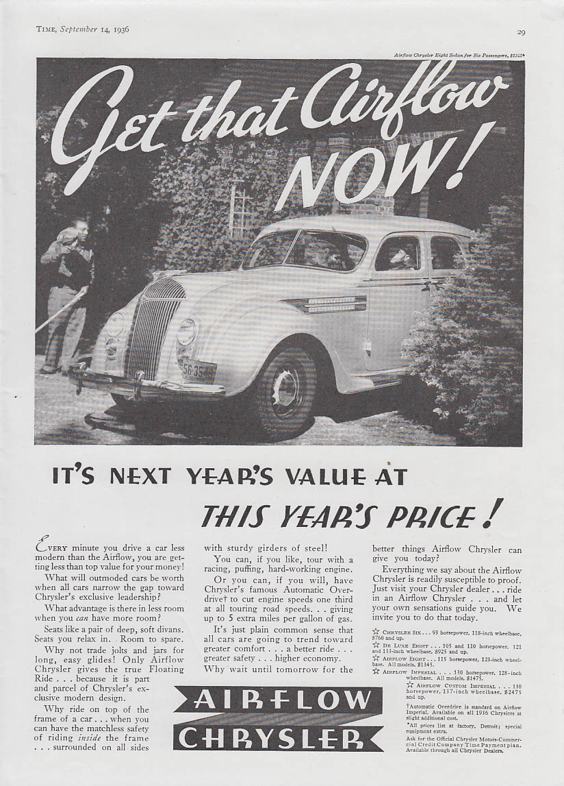 Image for Get that Airflow NOW! Next year's value This year's price Chrysler ad 1936 T