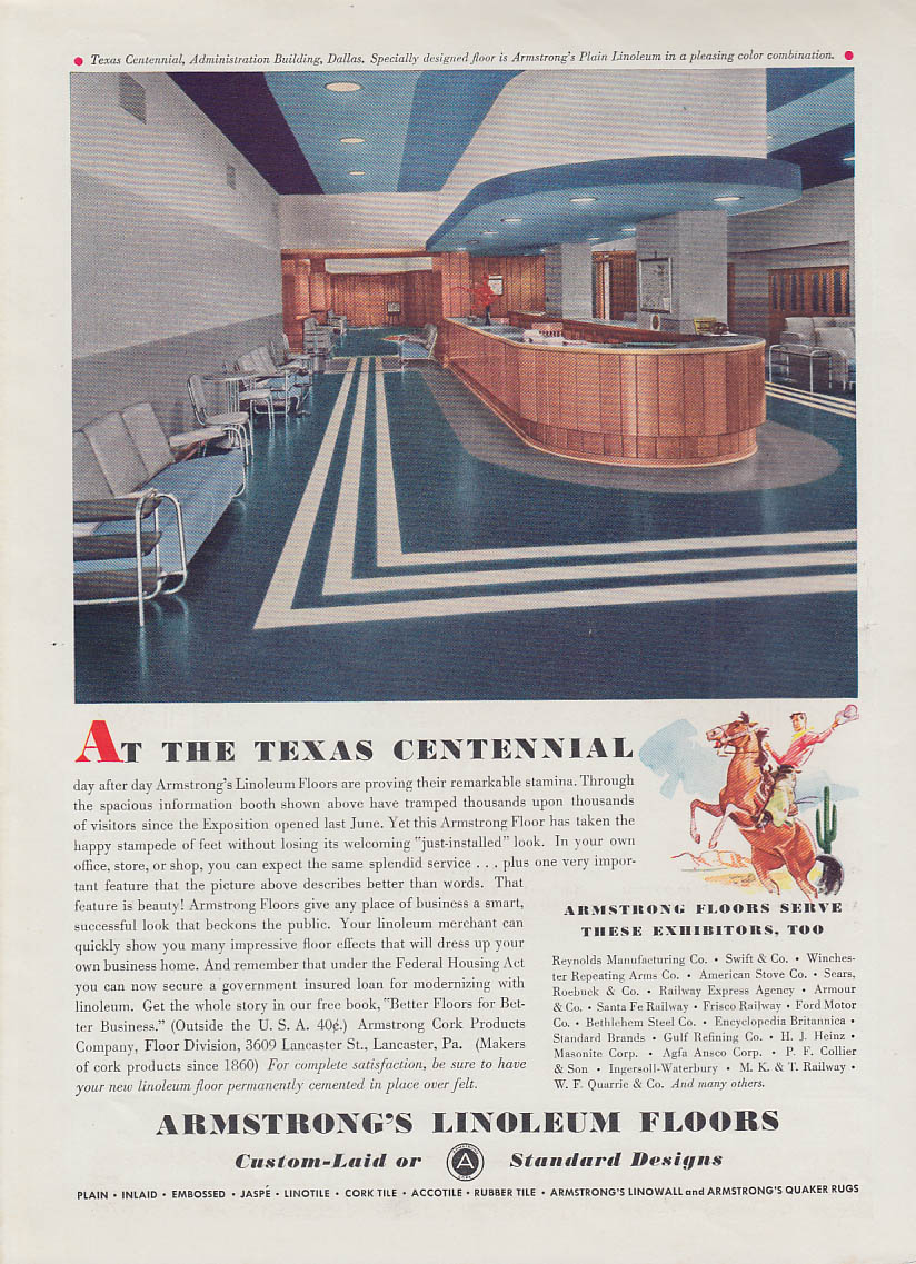 At the Texas Centennial Admin Building - Armstrong Linoleum ad 1936 T