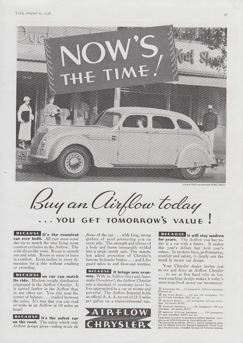 Image for NOW's the time! Chrysler Airflow today at tomorrow's value ad 1936 T