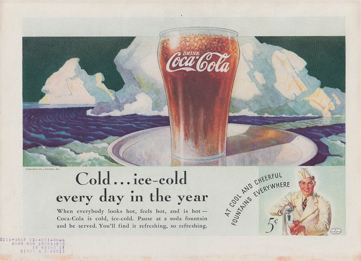 Cold  - ice-cold every day in the year Coca-Cola ad 1936 T