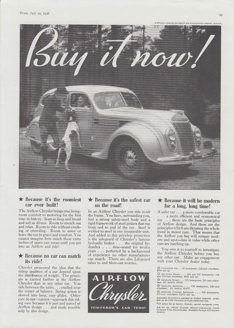 Image for Buy it now! Chrysler Airflow Sedan ad 1936 T roomiest safest modern