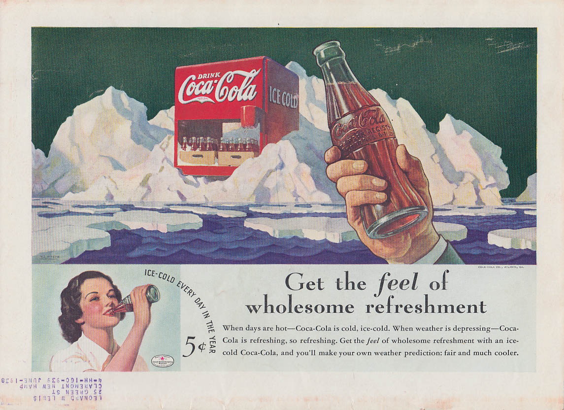 Get the feel of wholesome refreshment Coca-Cola ad 1936 T