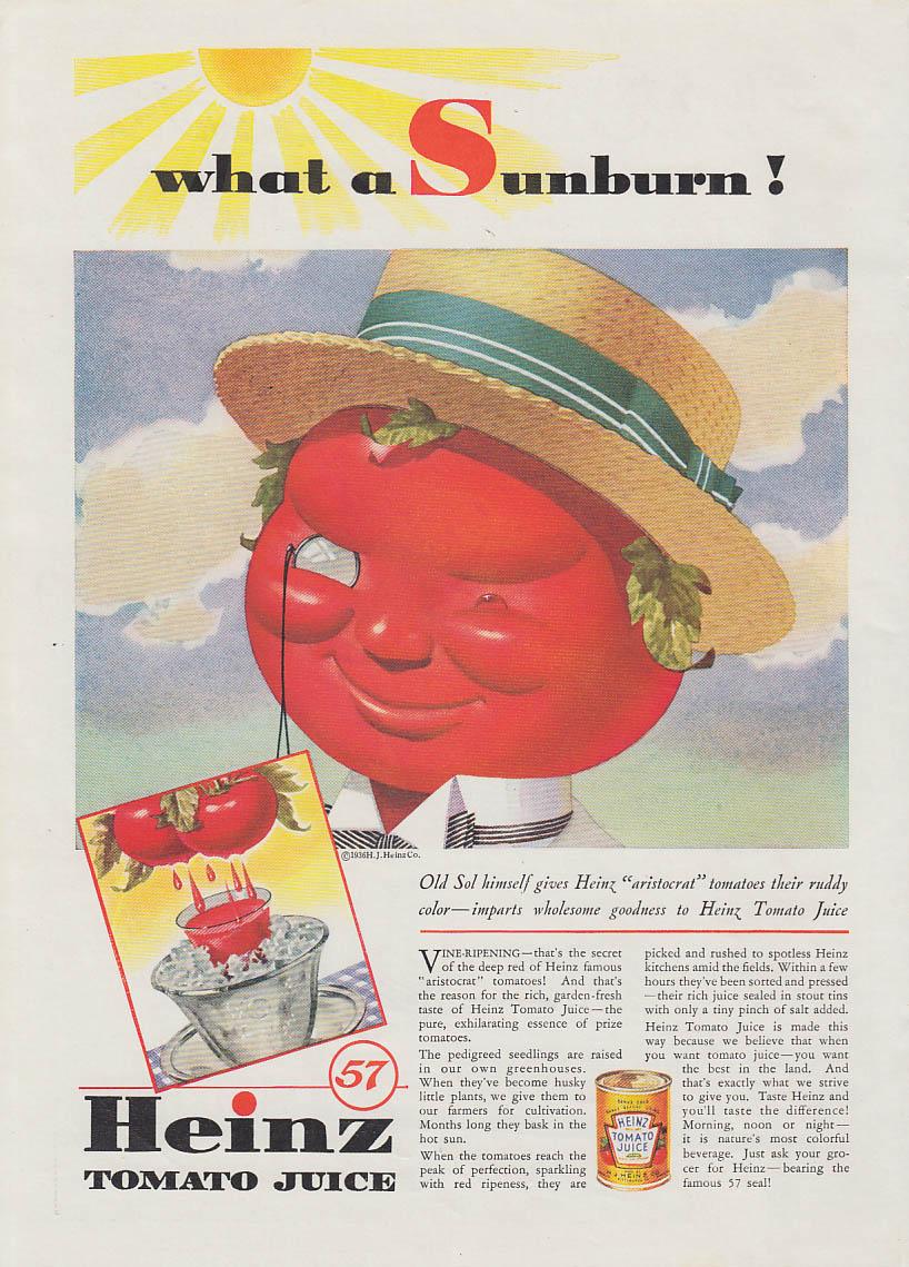 What a Sunburn! Heinz Tomato Juice ad 1936 Mr Tomato T