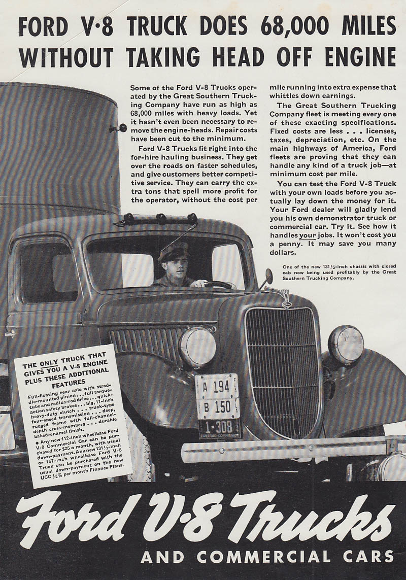 Does 68,000 Miles Without Taking Head Off - Ford V-8 Truck ad 1936 T