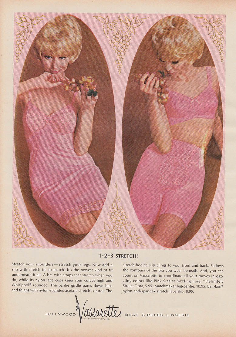 1-2-3 Stretch! Hollywood Vassarette Bra Girdle Slip ad 1964 Gl