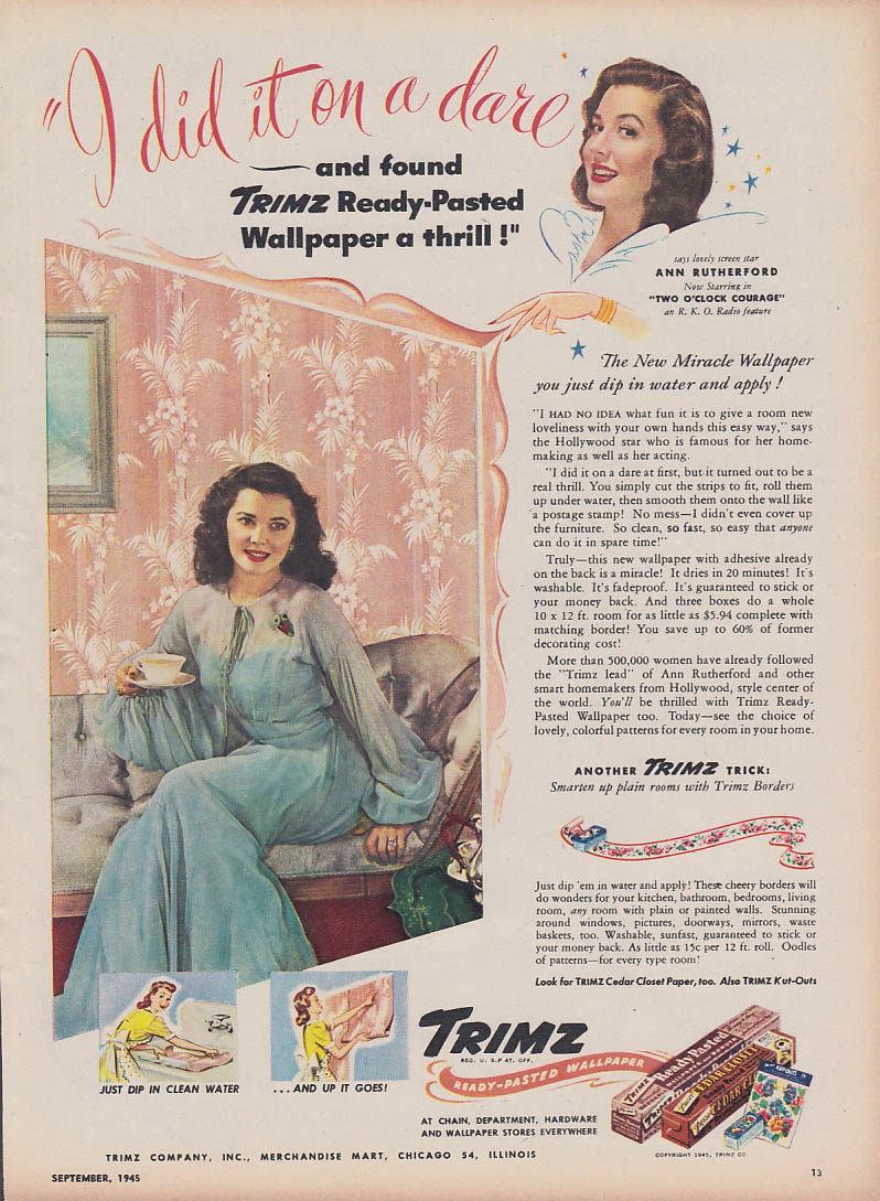 Ann Rutherford in Two O'Clock Courage for Trimz Wallpaper ad 1945 WD
