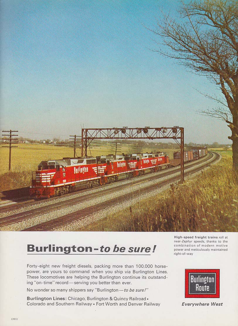 Burlington Route to be sure! Quadruple header diesel freight ad 1965