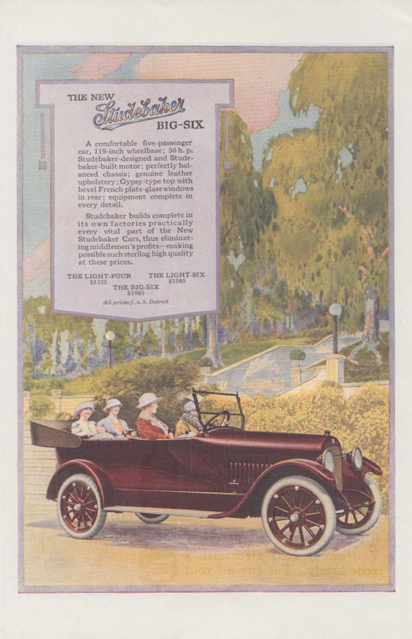 A comfortable five-passenger car Studebaker Big-Six Touring Car ad 1919 ARR