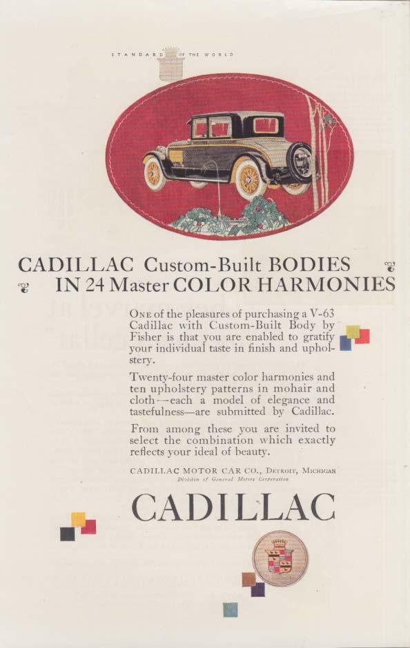 Custom-Built Bodies in 24 master color harmonies Cadillac ad 1925 H