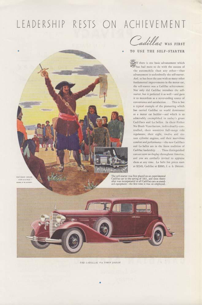 First to use the self-starter Cadillac V-8 Town Sedan ad 1933 NG