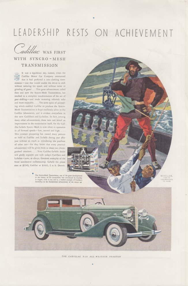 First with synchro-mesh transmission Cadillac V-12 Phaeton ad 1933 NG