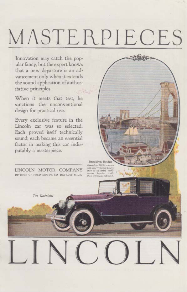 A departure is an advancement Lincoln Limousine ad 1924 Brooklyn Bridge H