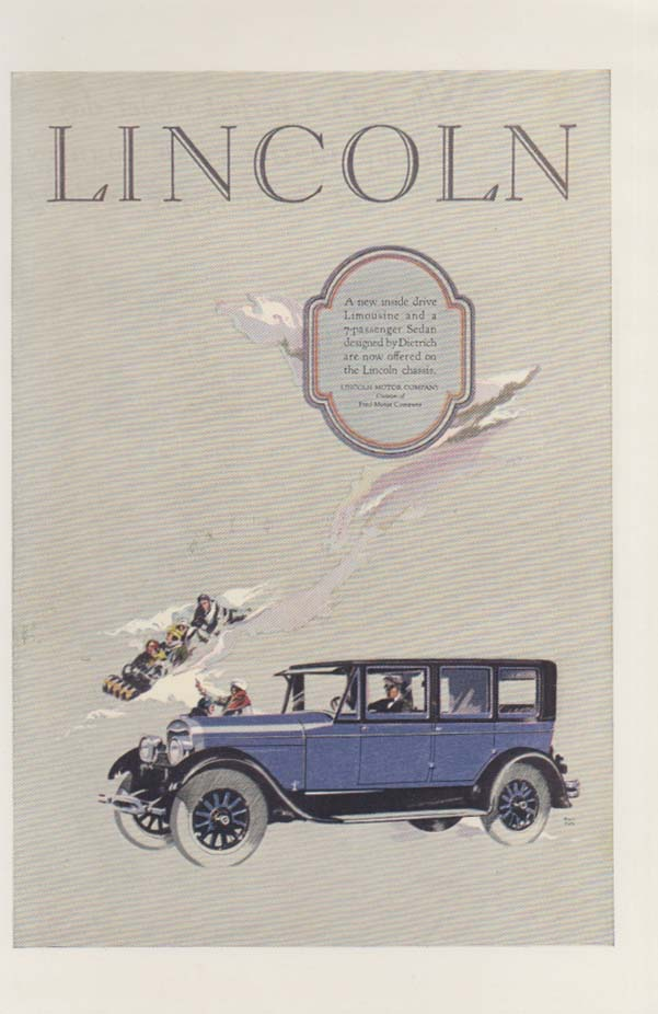 A new inside drive Lincoln Limousine ad 1926 tobogganing