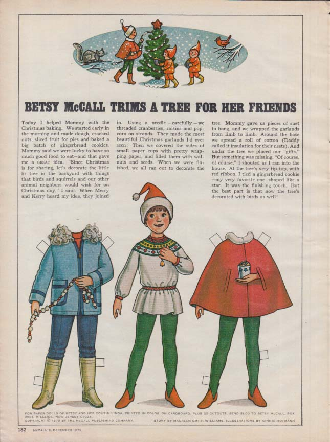 Image for Betsy McCall trims a tree for her friends paper doll page 12 1979