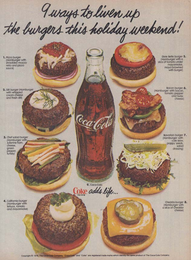 9 ways to liven up the burgers this holiday weekend Coca-Cola ad 1979 WD