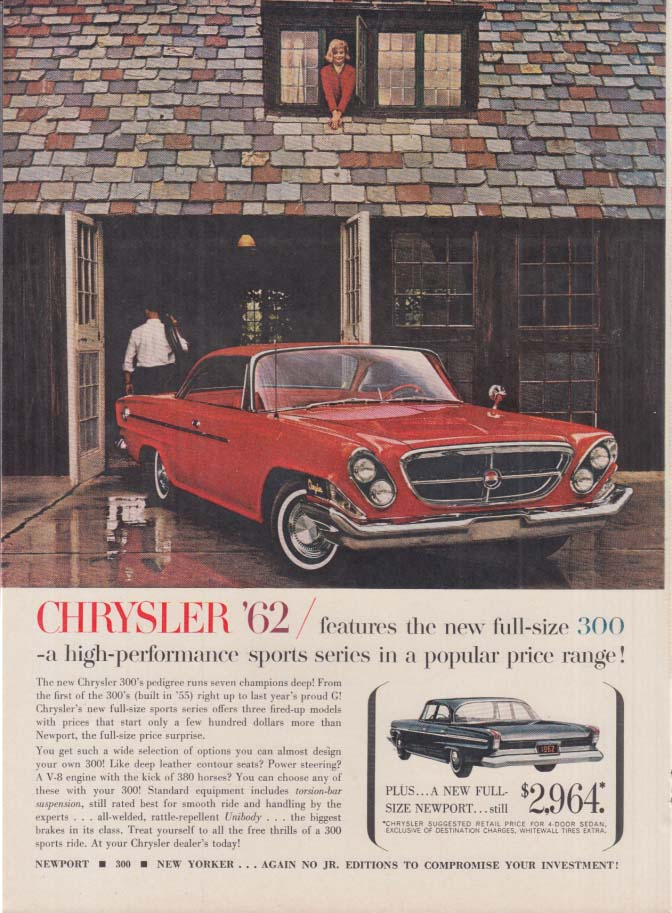 A high-performance sports series at a popular price Chrysler 300 ad 1962 NY