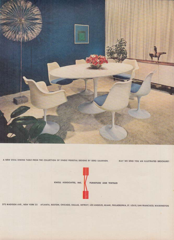 Image for A new oval Eero Saarinen Dining Table: Knoll Associates ad 1961 NY