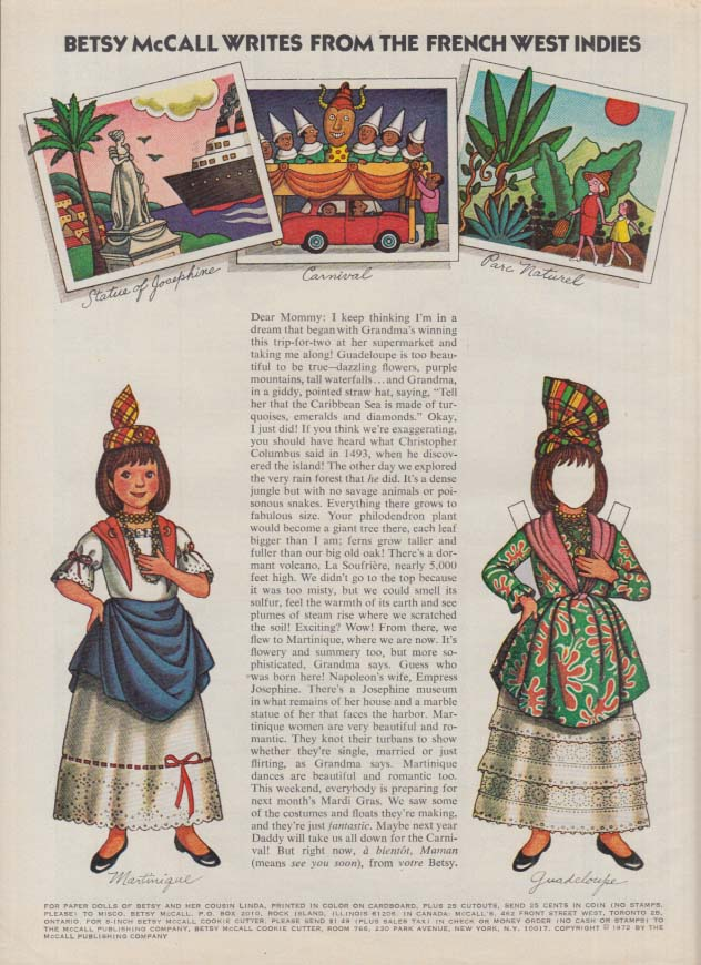 Betsy McCall writes from the French West Indies paper doll page 2 1972