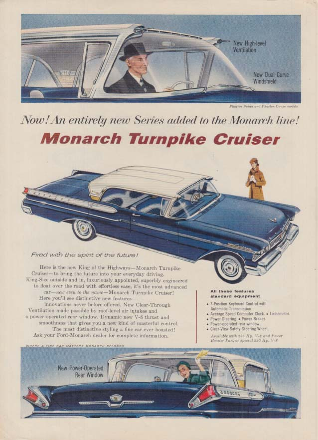 An entirely new series! Monarch Turnpike Cruiser ad 1957 Canadian Mercury