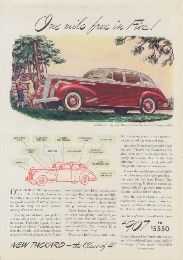 One mile free in Five! Packard One-Ten Deluxe Touring Sedan ad 1941 T