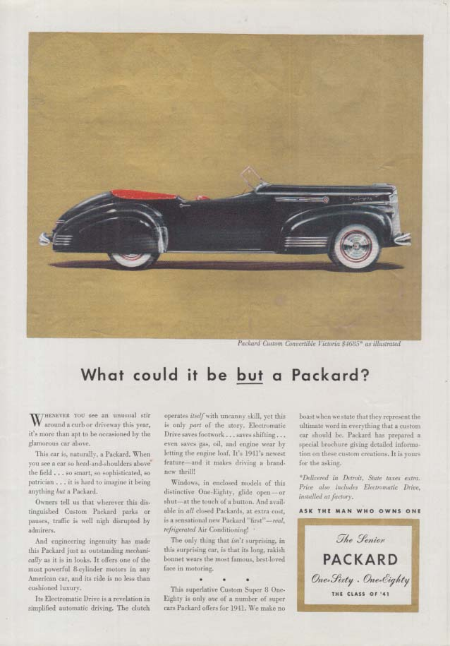 Image for What could it be BUT a Packard Convertible Victoria? Ad 1941 T