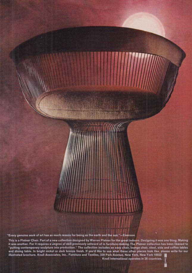 Image for This is a Planter Chair - Knoll International ad 1969 NY