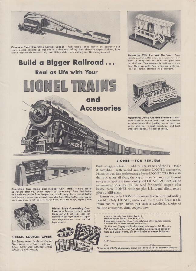 Build a bigger Railroad with Lionel Electric Trains ad 1951 T&T