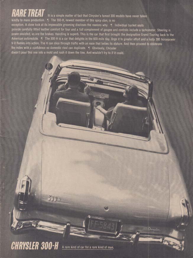 Image for Rare Treat - Chrysler 300-H Convertible ad 1962 var