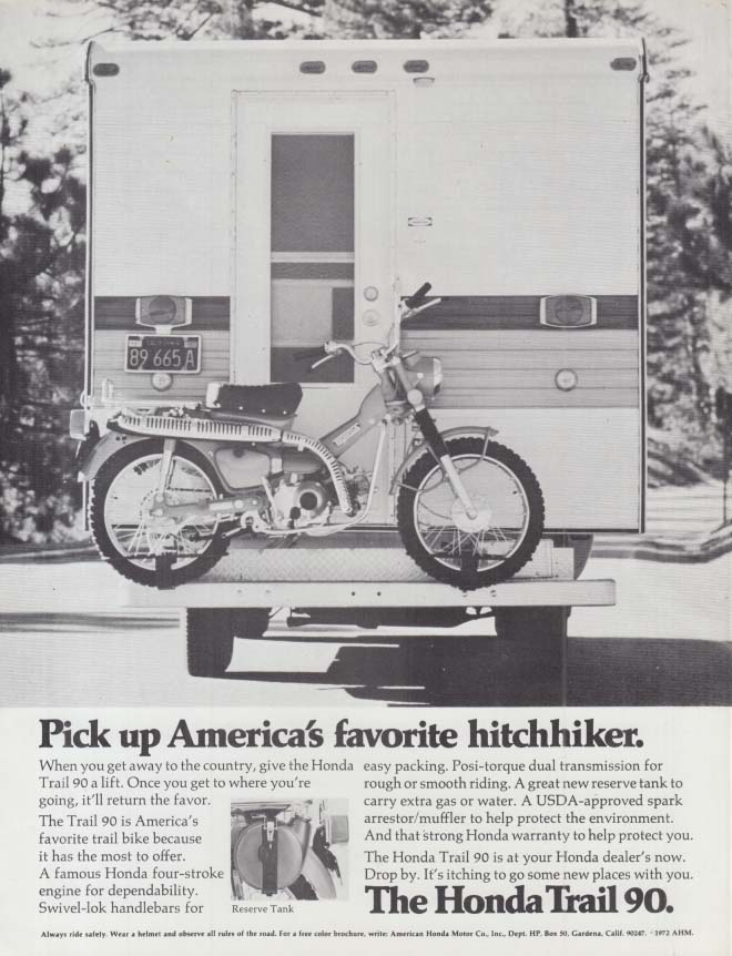 Image for Pick up America's favorite hitchhiker - Honda Trail 90 Motorcycle ad 1972