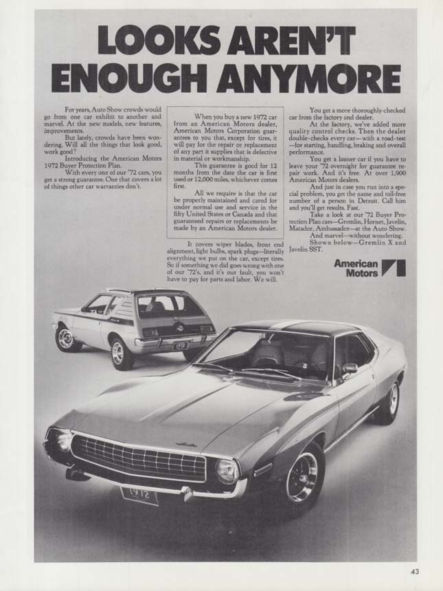 Image for Looks arent enough anymore - AMC Javelin & Gremlin ad 1972 CAS