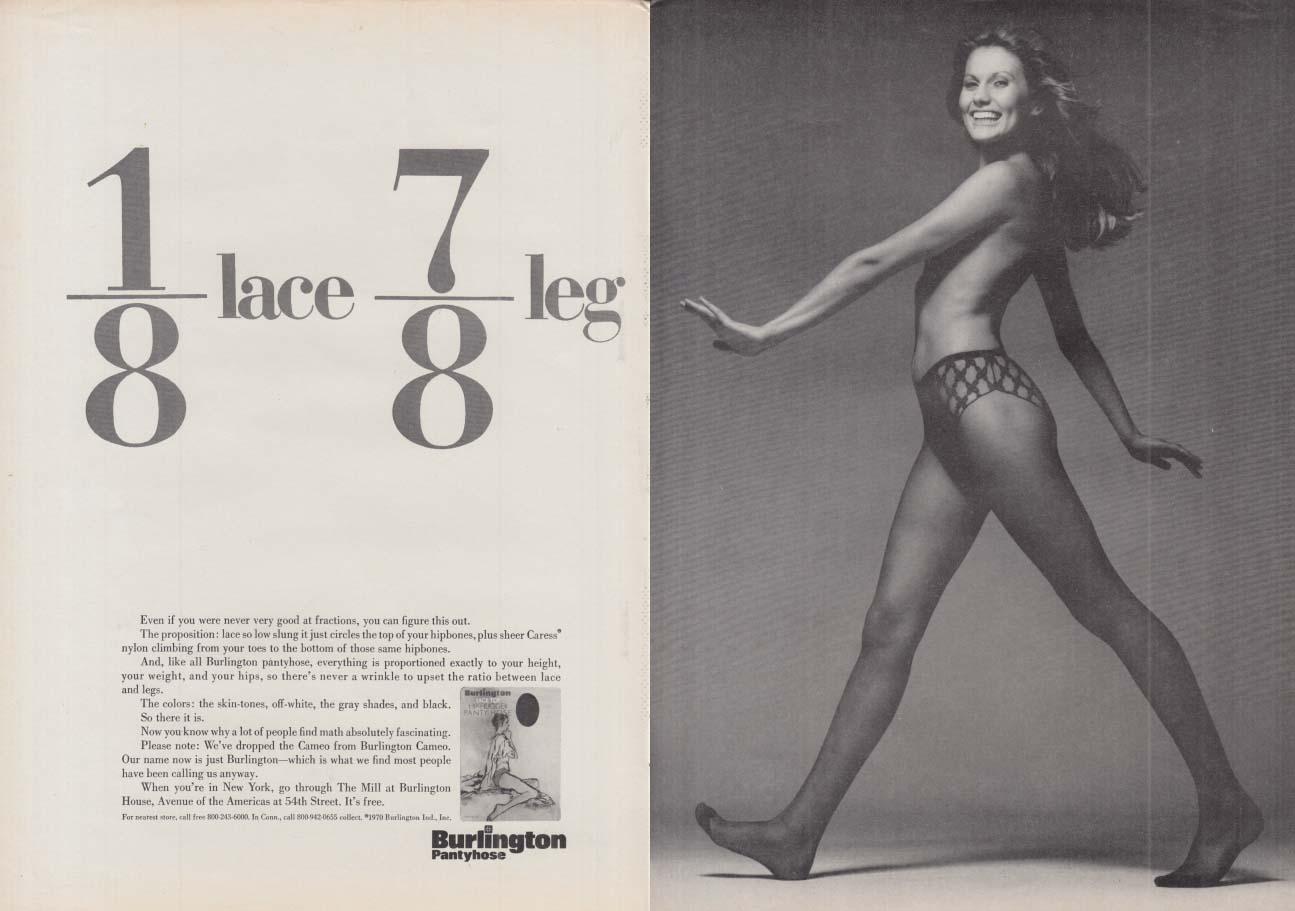 1/8 lace 7/8 leg - Burlington Pantyhose ad 1970 NY