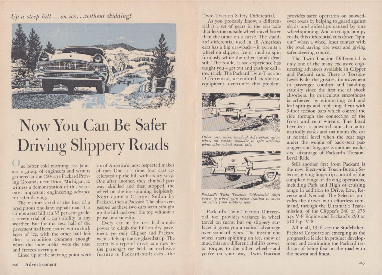 Image for Now You Can Be Safer Driving Slippery Roads - Packard ad 1956 RD