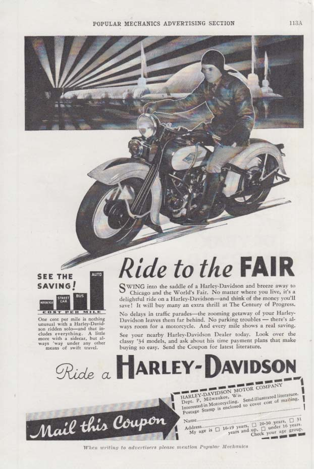 Image for Ride to the Century of Progress World's Fair - Harley-Davidson Motorcycle 1934